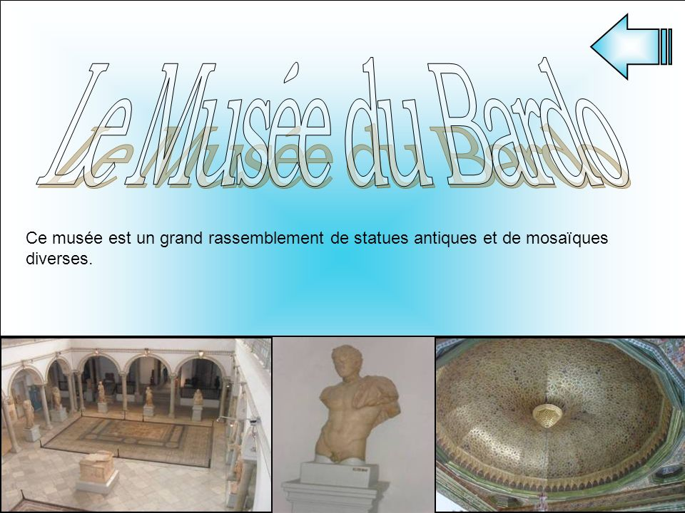 Le Musée du Bardo Ce musée est un grand rassemblement de statues antiques et de mosaïques diverses.