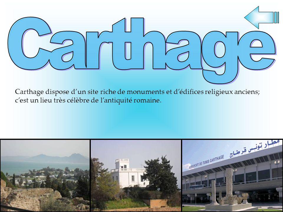 Carthage Carthage dispose d'un site riche de monuments et d'édifices religieux anciens; c'est un lieu très célèbre de l'antiquité romaine.