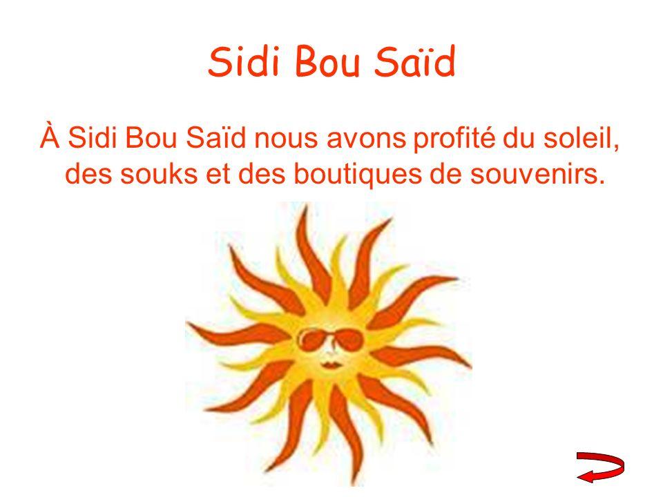 Sidi Bou Saïd À Sidi Bou Saïd nous avons profité du soleil, des souks et des boutiques de souvenirs.