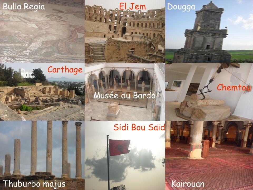 Bulla Regia El Jem Dougga Carthage Chemtou Musée du Bardo Sidi Bou Saïd Thuburbo majus Kairouan