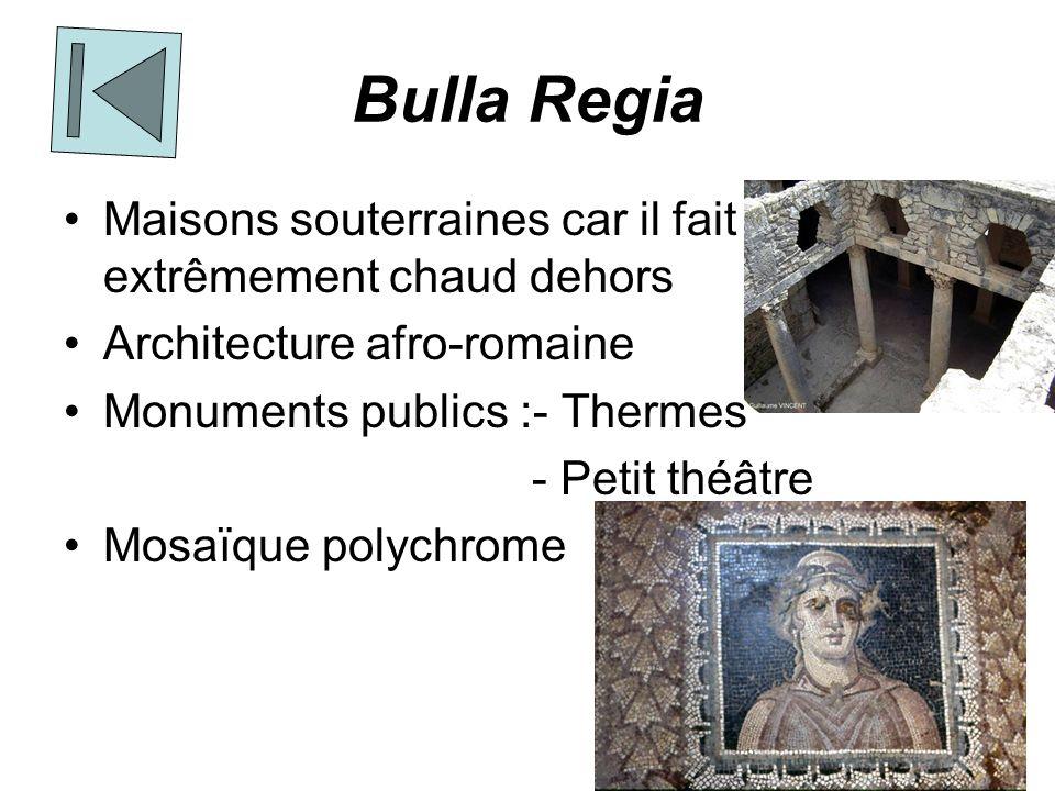 Bulla Regia Maisons souterraines car il fait extrêmement chaud dehors