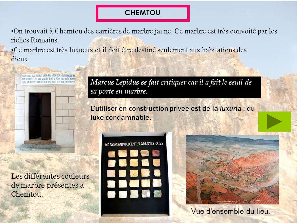 CHEMTOUOn trouvait à Chemtou des carrières de marbre jaune. Ce marbre est très convoité par les riches Romains.
