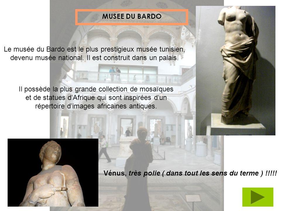 MUSEE DU BARDO Le musée du Bardo est le plus prestigieux musée tunisien, devenu musée national. Il est construit dans un palais.