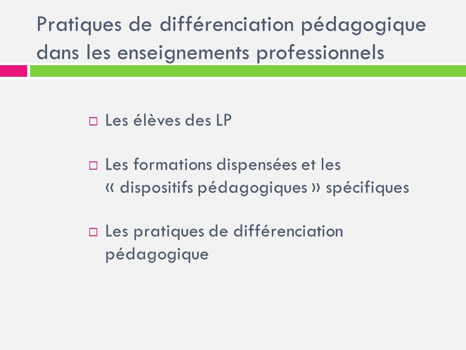 Pratiques de différenciation pédagogique dans les enseignements professionnels