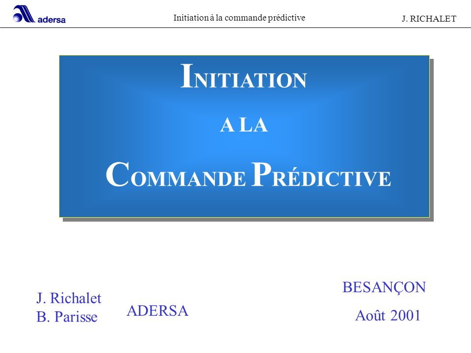 INITIATION COMMANDE PRÉDICTIVE