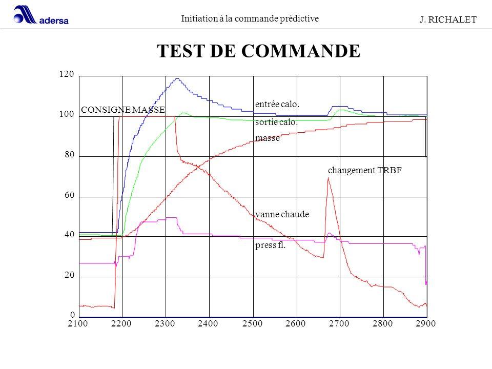 TEST DE COMMANDE 120 entrée calo. CONSIGNE MASSE 100 sortie calo.