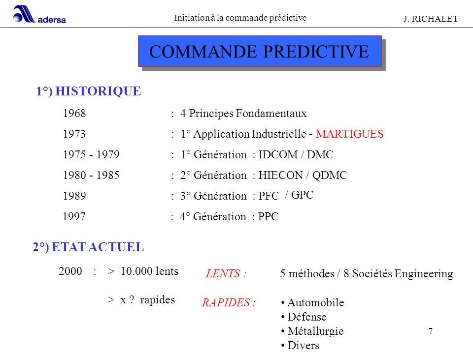 COMMANDE PREDICTIVE 1°) HISTORIQUE 2°) ETAT ACTUEL 1968