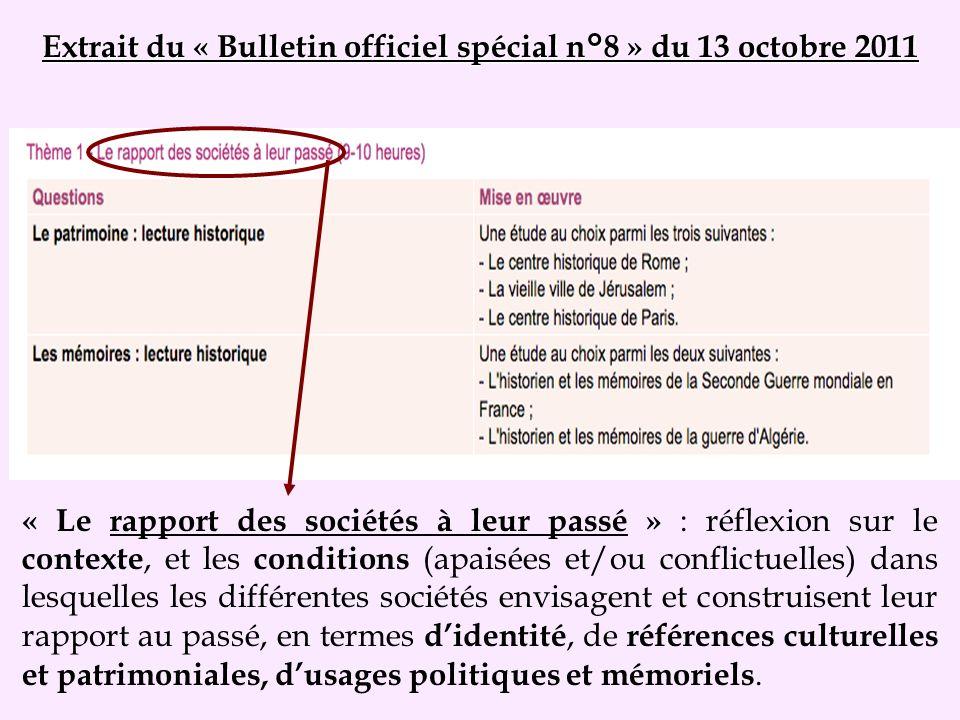 Extrait du « Bulletin officiel spécial n°8 » du 13 octobre 2011