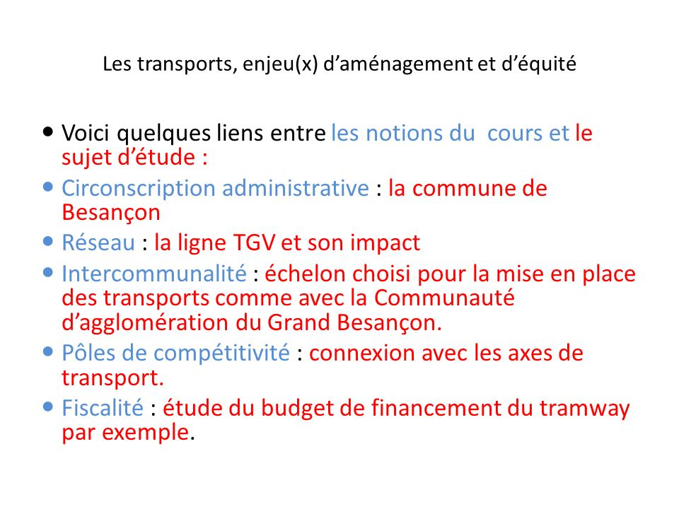 Les transports, enjeu(x) d'aménagement et d'équité