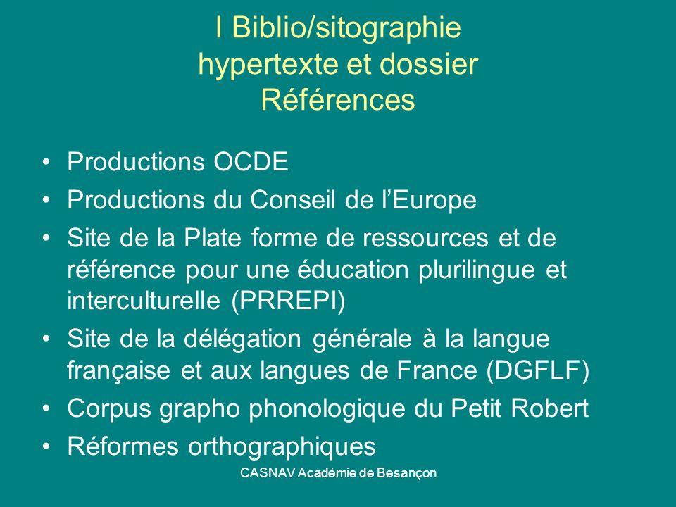 I Biblio/sitographie hypertexte et dossier Références