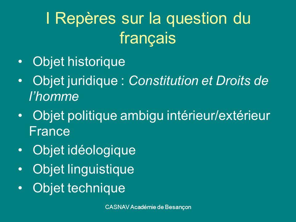 I Repères sur la question du français
