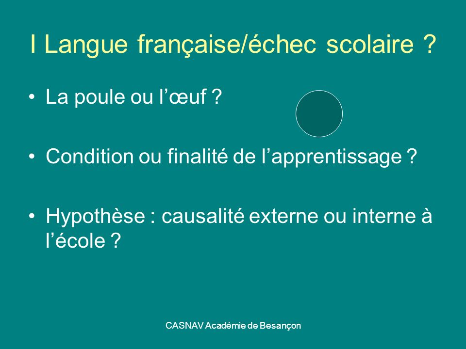 I Langue française/échec scolaire