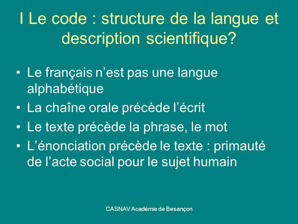 I Le code : structure de la langue et description scientifique