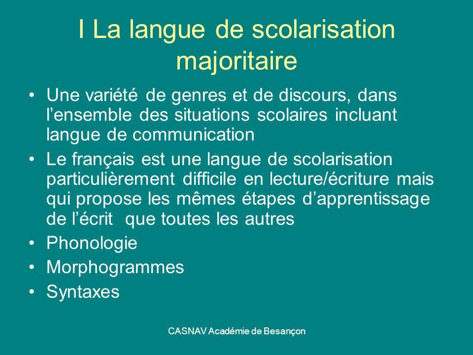 I La langue de scolarisation majoritaire