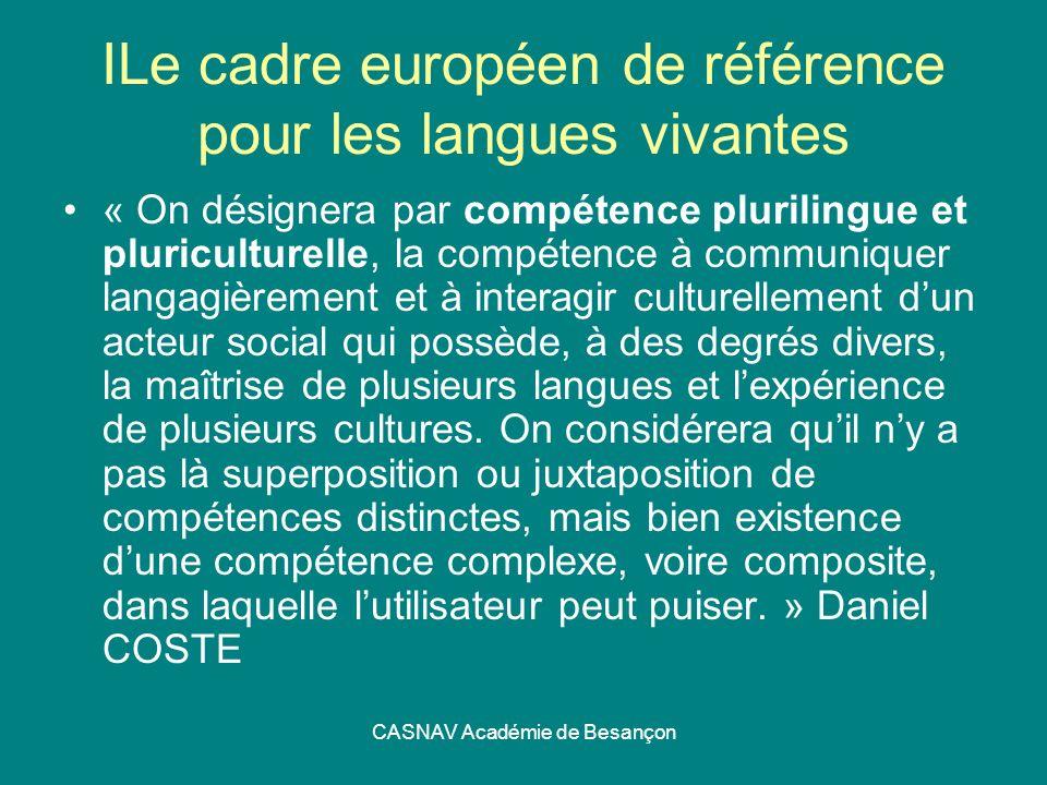 ILe cadre européen de référence pour les langues vivantes