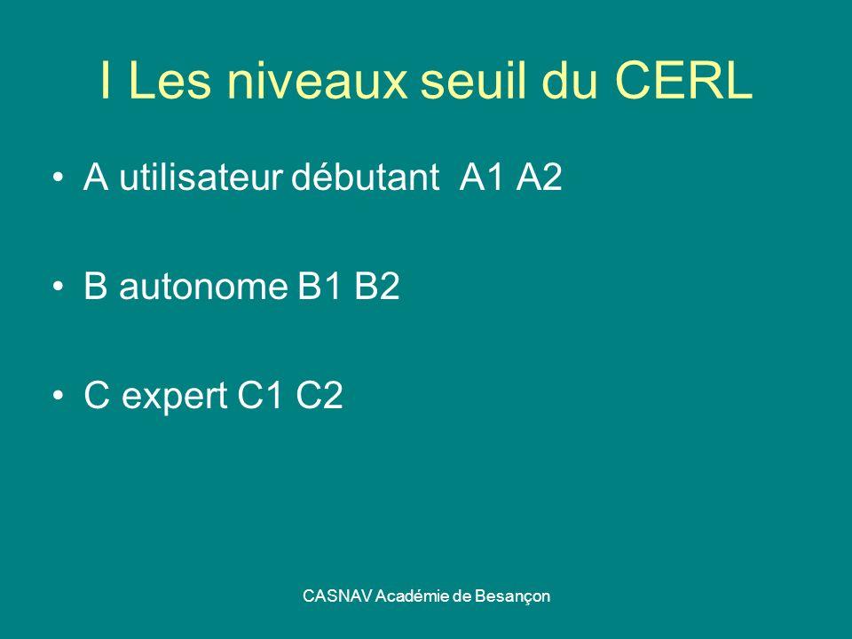 I Les niveaux seuil du CERL