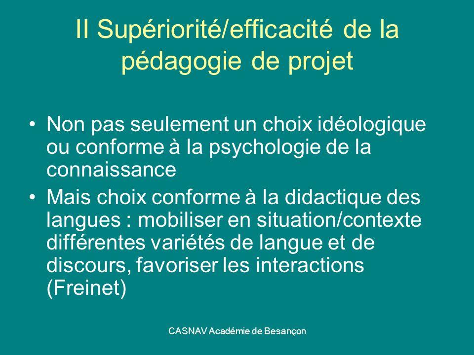II Supériorité/efficacité de la pédagogie de projet