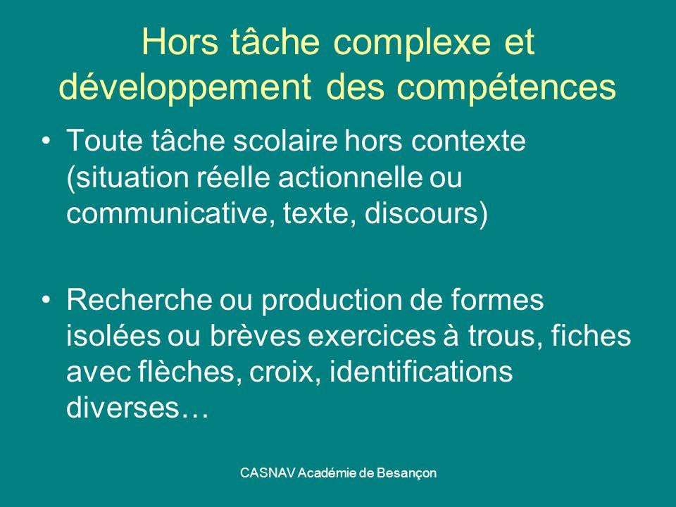 Hors tâche complexe et développement des compétences