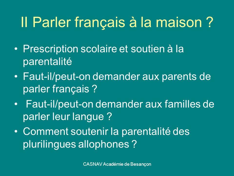 II Parler français à la maison
