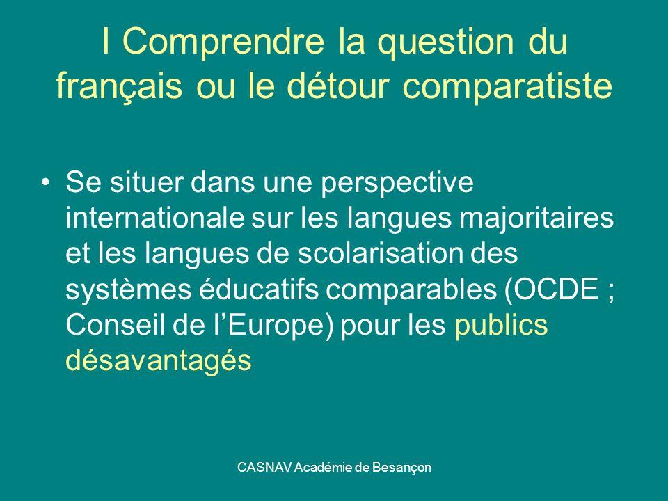 I Comprendre la question du français ou le détour comparatiste