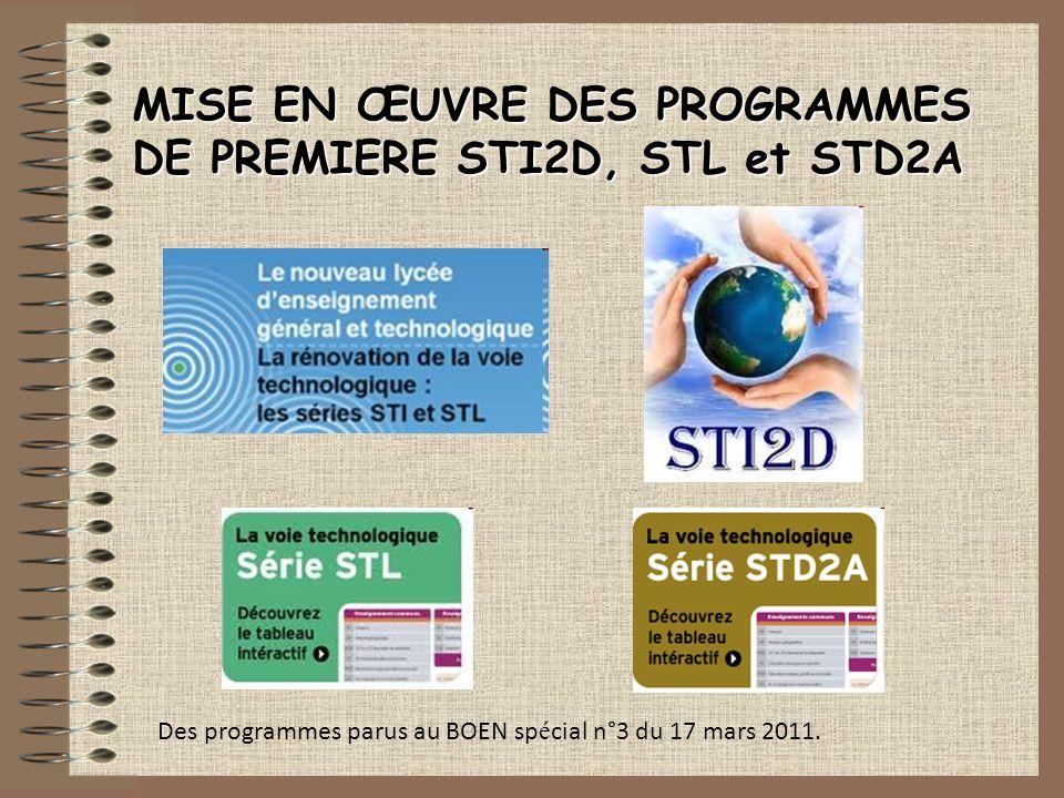 MISE EN ŒUVRE DES PROGRAMMES DE PREMIERE STI2D, STL et STD2A