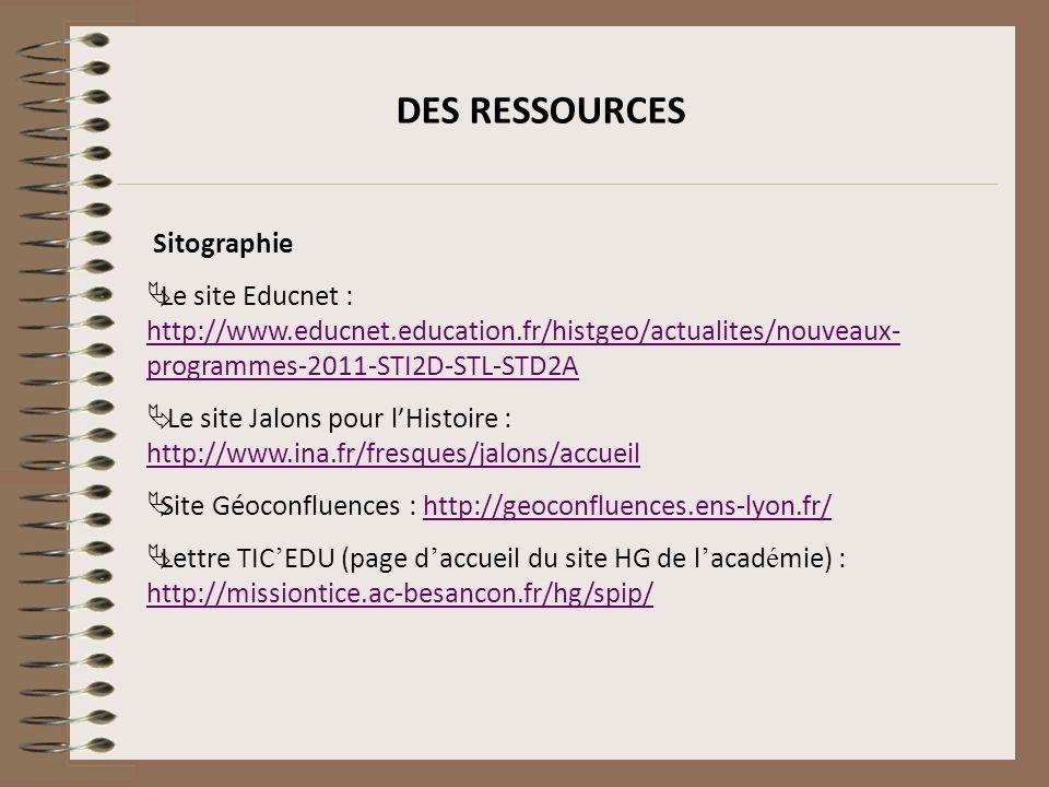 DES RESSOURCES Sitographie