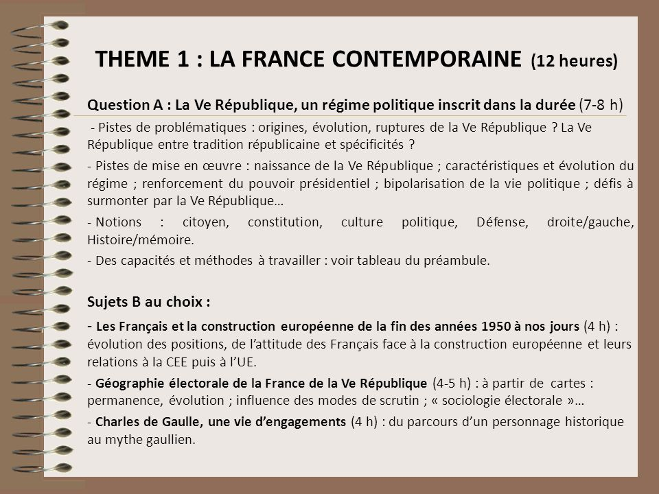 THEME 1 : LA FRANCE CONTEMPORAINE (12 heures)