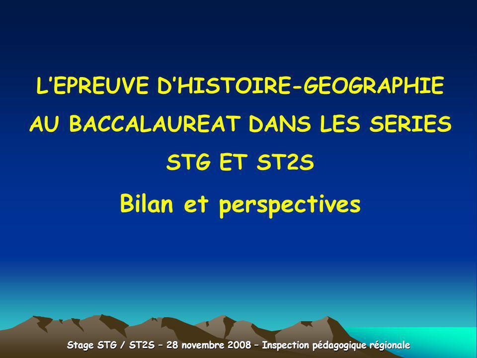 Bilan et perspectives L'EPREUVE D'HISTOIRE-GEOGRAPHIE
