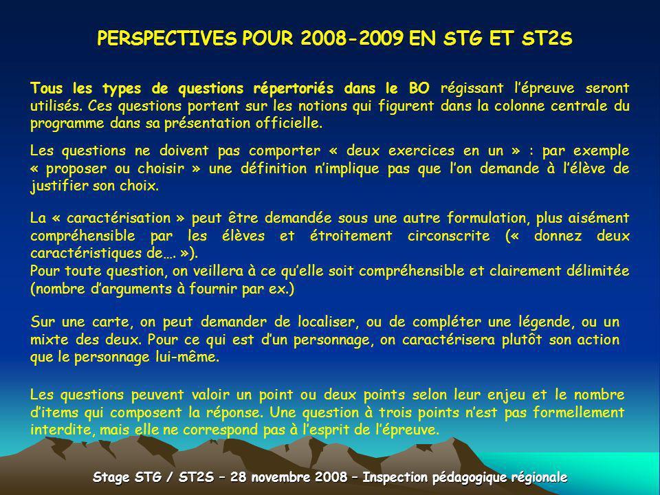 PERSPECTIVES POUR 2008-2009 EN STG ET ST2S