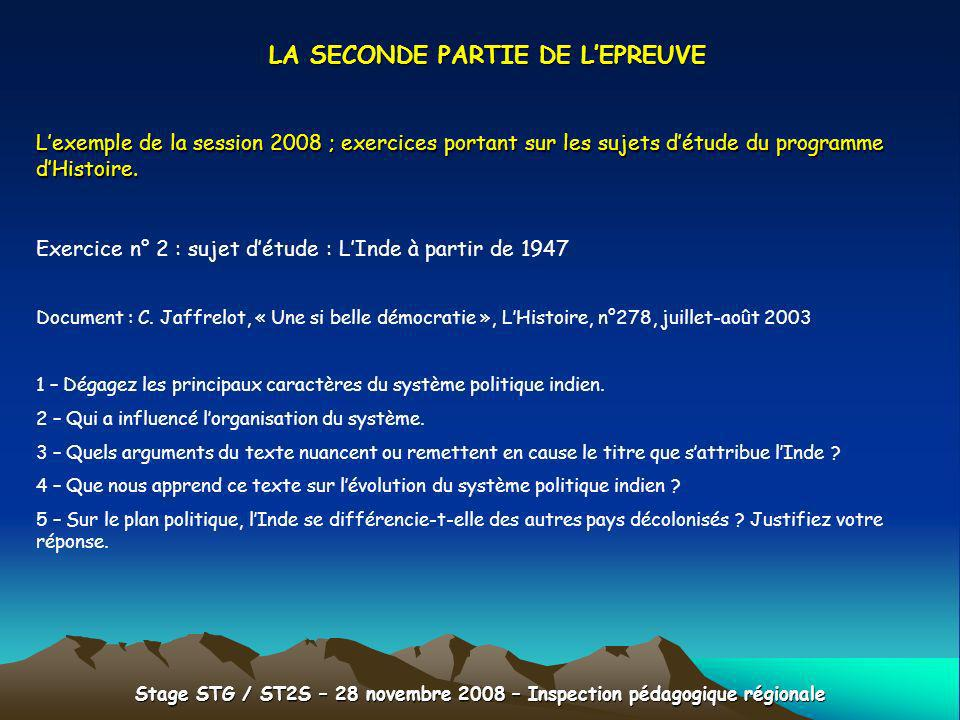 LA SECONDE PARTIE DE L'EPREUVE