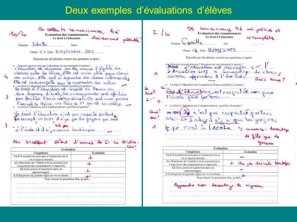 Deux exemples d'évaluations d'élèves