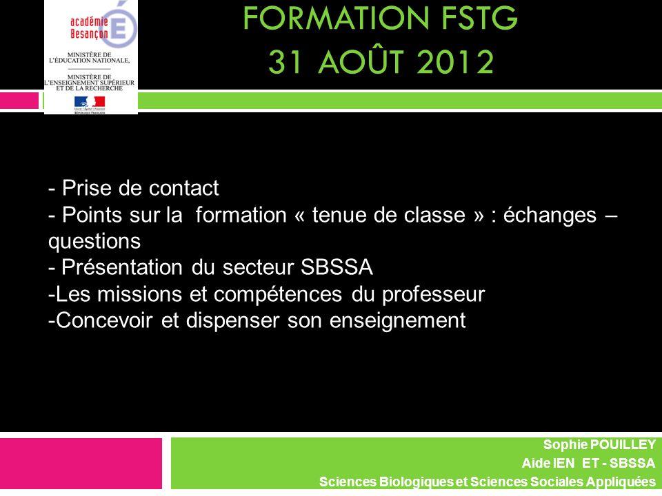 FORMATION FSTG 31 août 2012 Prise de contact