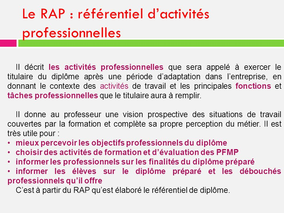 Le RAP : référentiel d'activités professionnelles
