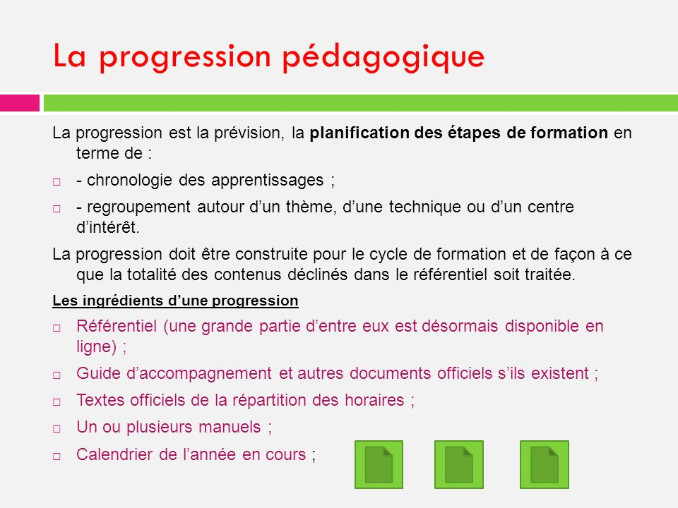 La progression pédagogique