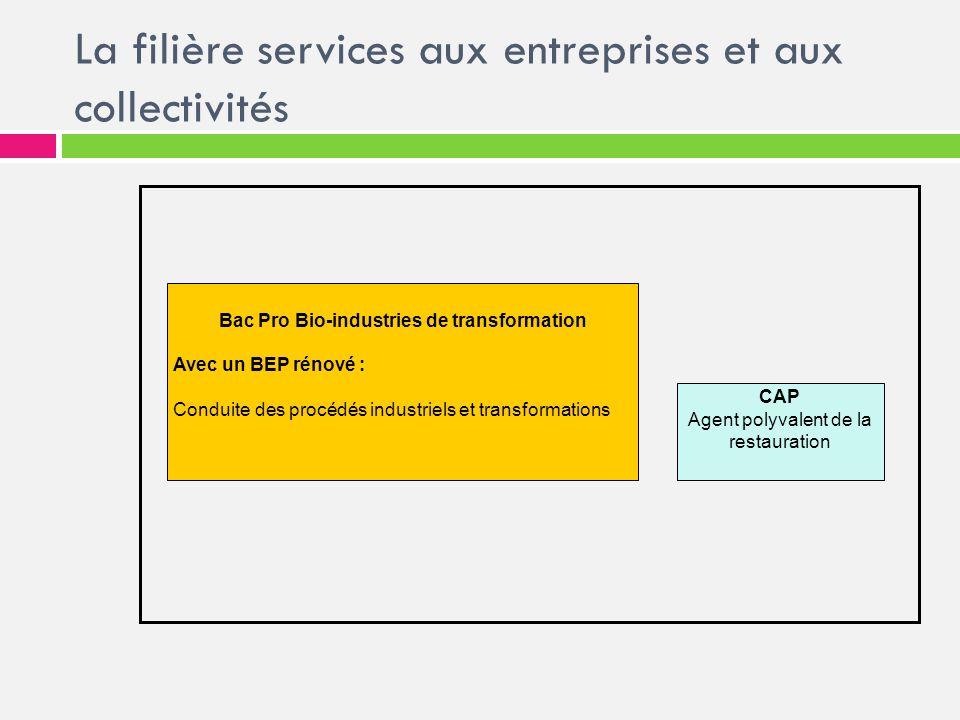 La filière services aux entreprises et aux collectivités