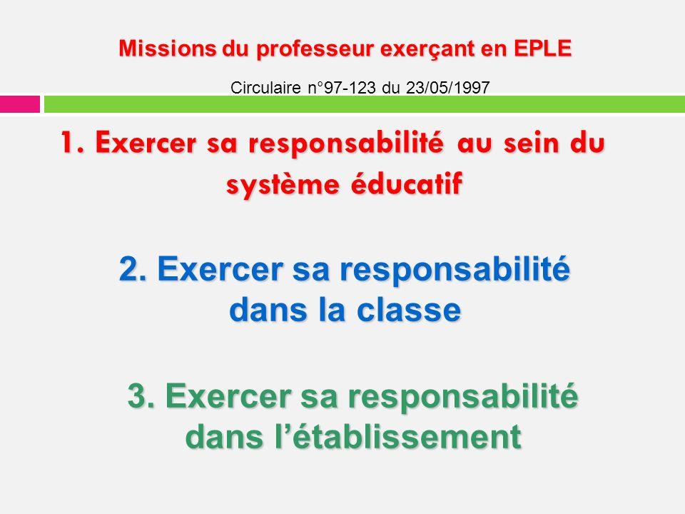 1. Exercer sa responsabilité au sein du système éducatif