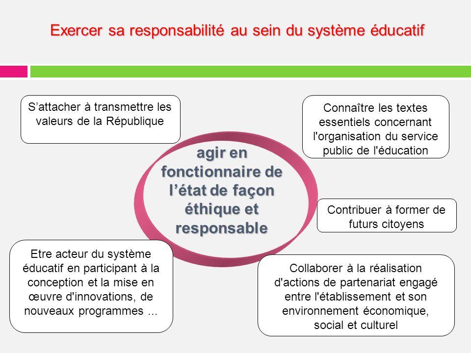 agir en fonctionnaire de l'état de façon éthique et responsable