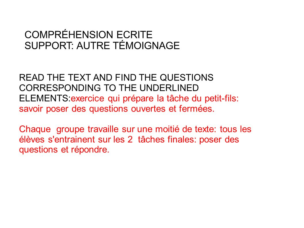 SUPPORT: AUTRE TÉMOIGNAGE