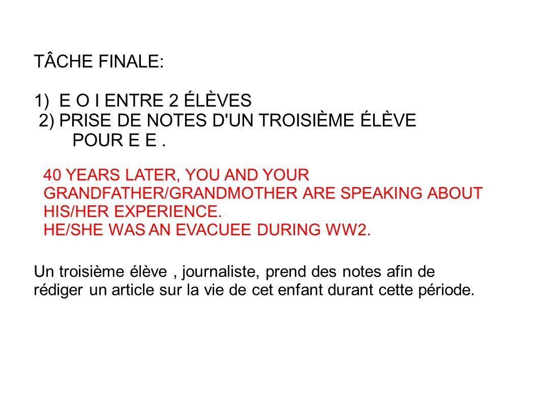 2) PRISE DE NOTES D UN TROISIÈME ÉLÈVE POUR E E .