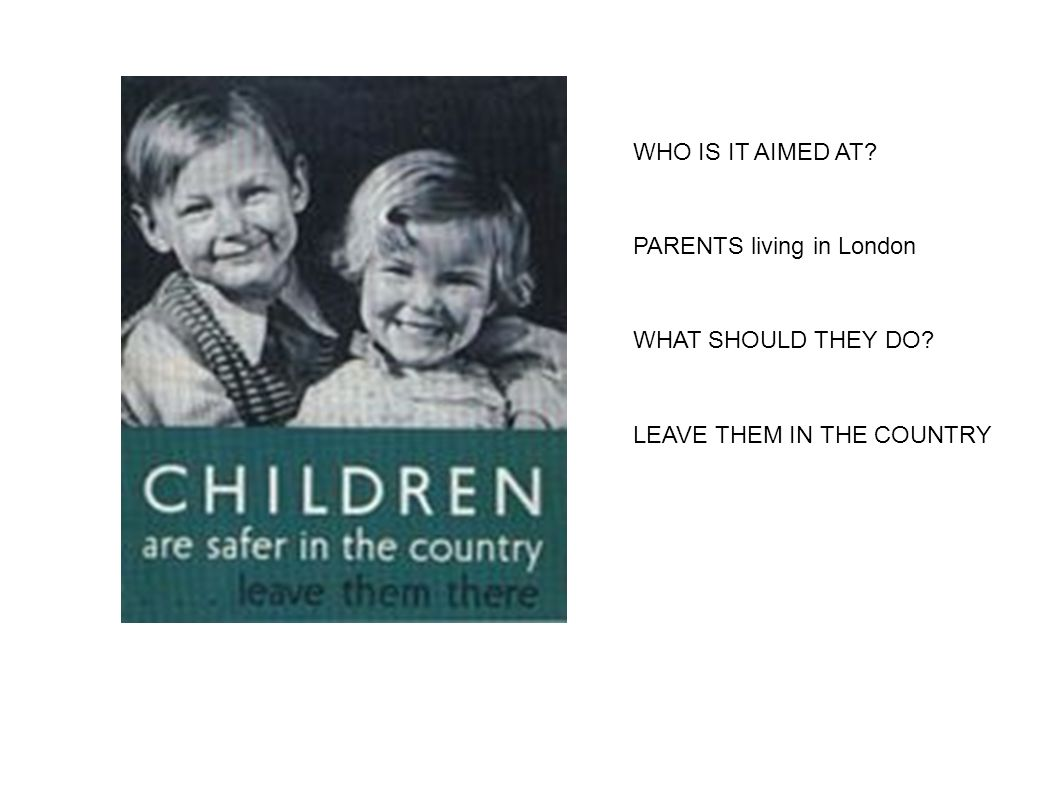 WHO IS IT AIMED AT PARENTS living in London WHAT SHOULD THEY DO LEAVE THEM IN THE COUNTRY