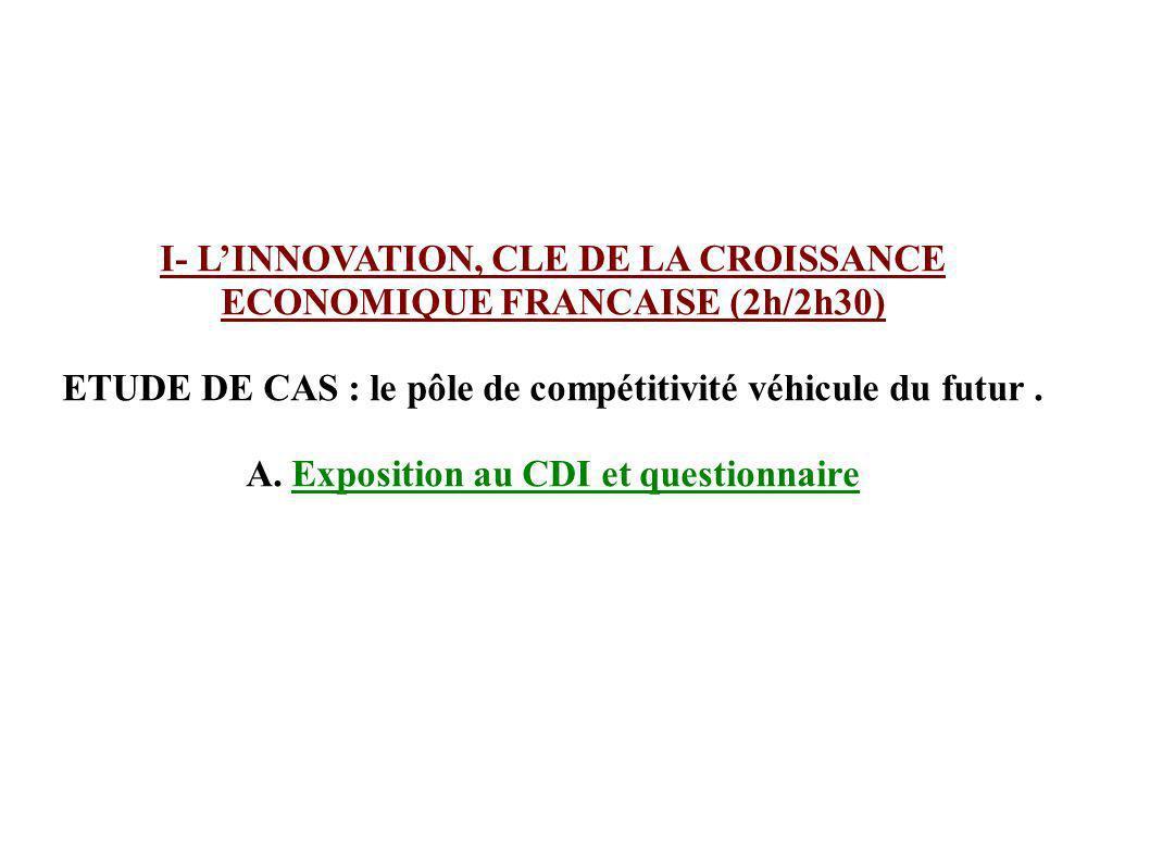 I- L'INNOVATION, CLE DE LA CROISSANCE ECONOMIQUE FRANCAISE (2h/2h30)
