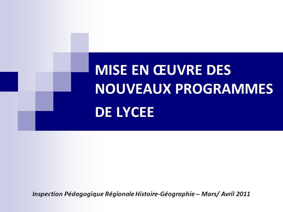 MISE EN ŒUVRE DES NOUVEAUX PROGRAMMES DE LYCEE