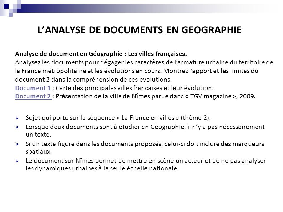 L'ANALYSE DE DOCUMENTS EN GEOGRAPHIE