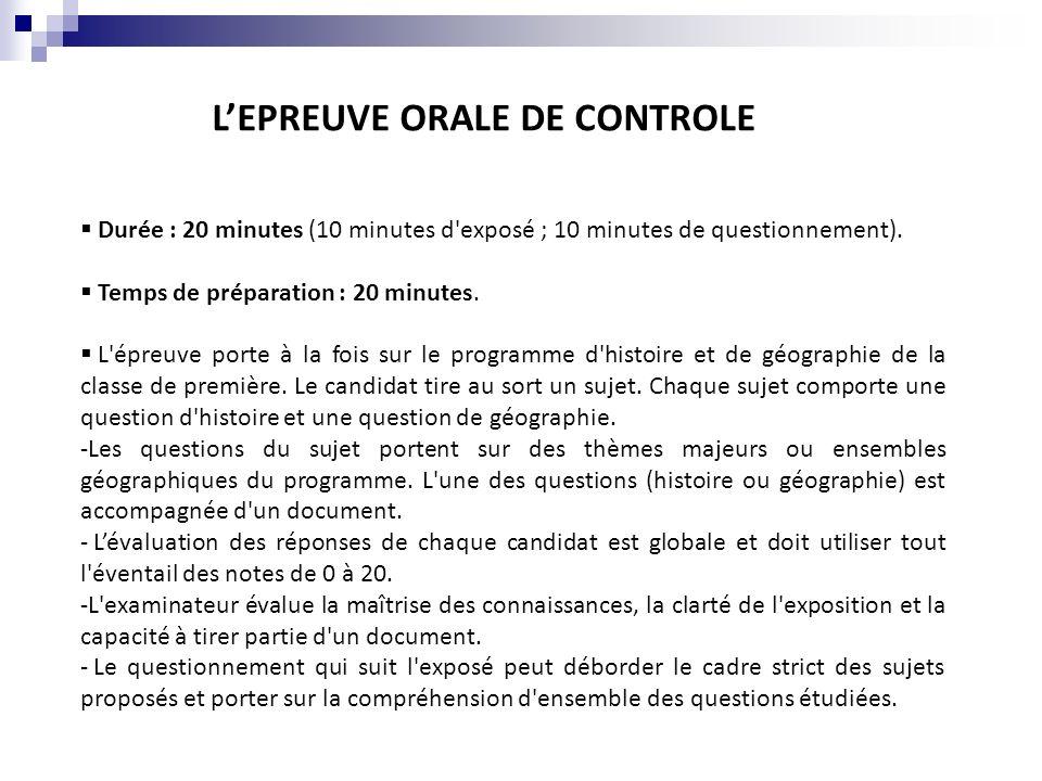 L'EPREUVE ORALE DE CONTROLE