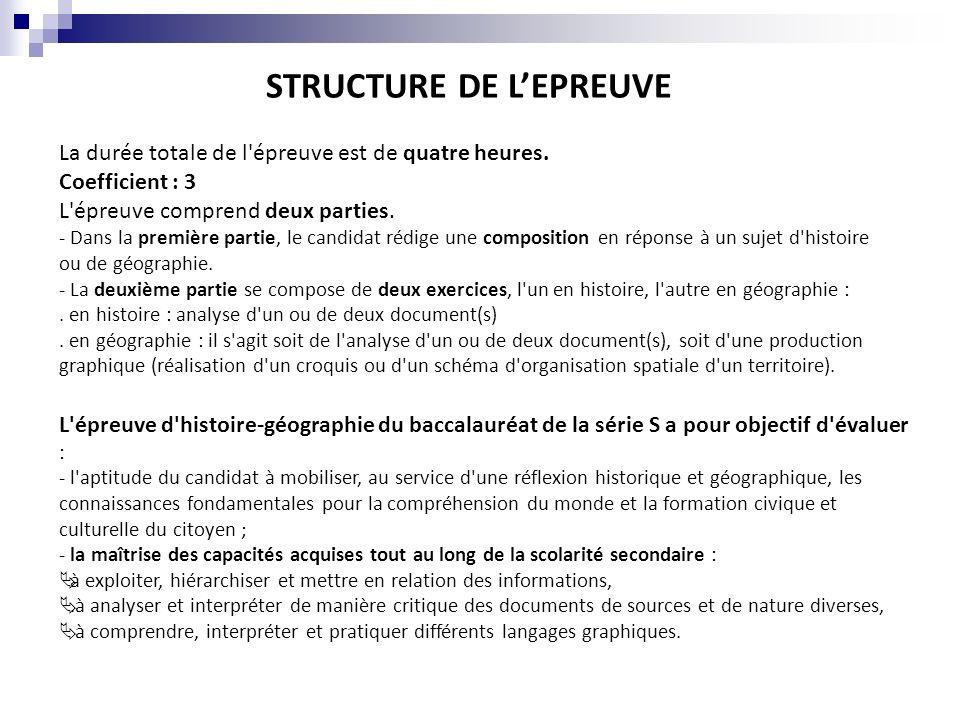 STRUCTURE DE L'EPREUVE