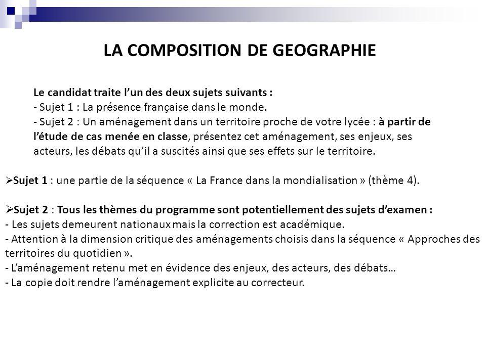 LA COMPOSITION DE GEOGRAPHIE