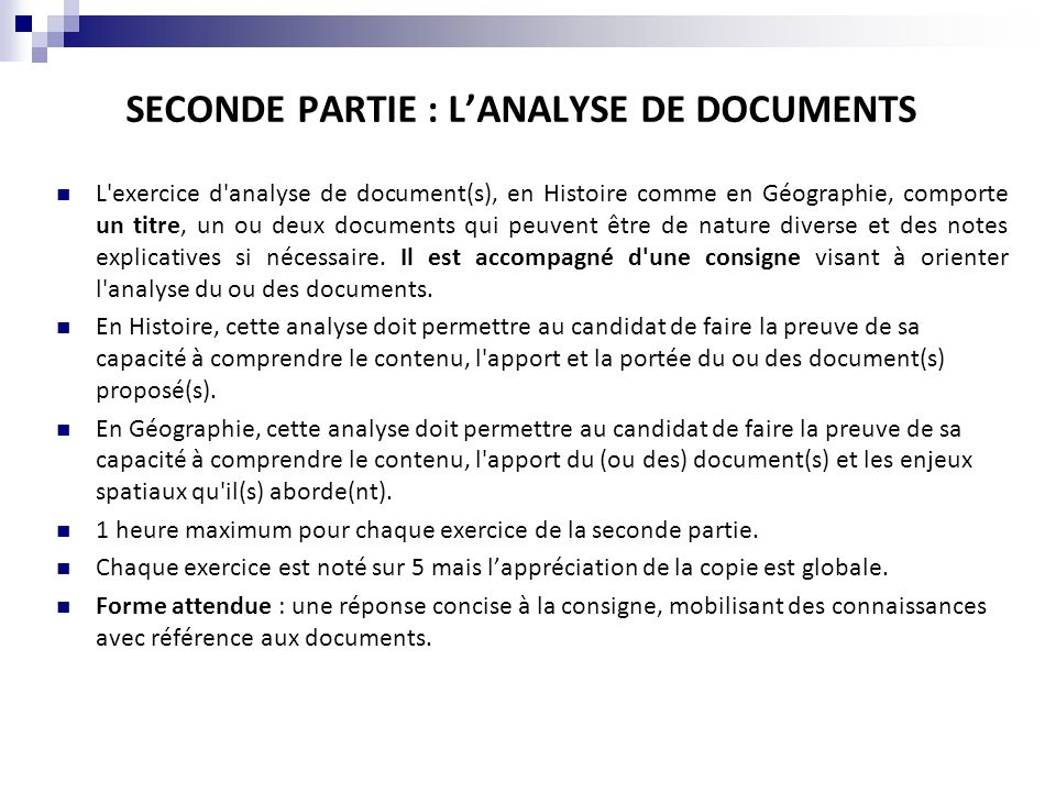 SECONDE PARTIE : L'ANALYSE DE DOCUMENTS