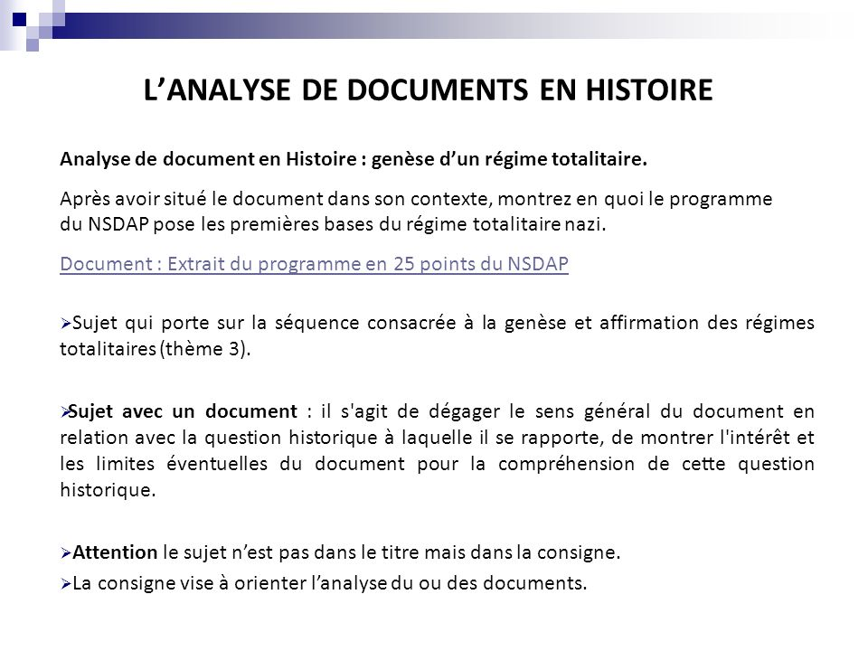 L'ANALYSE DE DOCUMENTS EN HISTOIRE