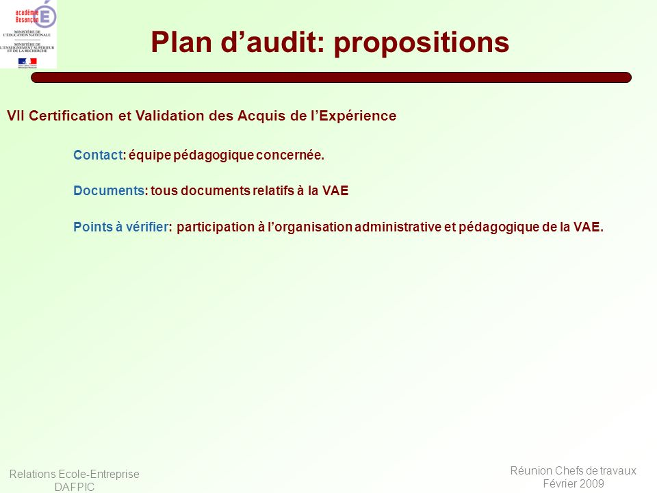 Plan d'audit: propositions