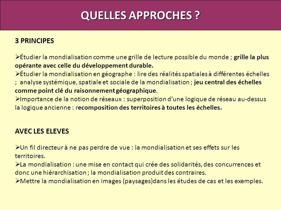 QUELLES APPROCHES 3 PRINCIPES AVEC LES ELEVES